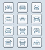 Cars front view icons | TECH series — Stock Vector