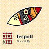 Aztec symbol Tecpatl — Stock Vector