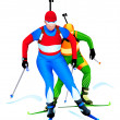 Biathlon race — Stock Vector