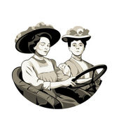 Vintage driving women — Stock Vector