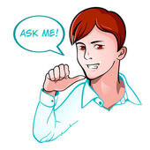 Ask me support — Stock Vector