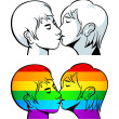 Stock Vector: Gay kiss