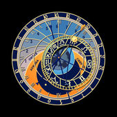 Astronomical clock — Stock Vector