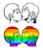 Gay kiss — Stock Vector