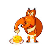Little fox and big cheese — Stock Vector