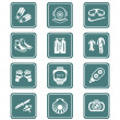 Scuba diving icons - TEAL series — Stock Vector