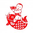 Boy riding a carp — Stock Vector