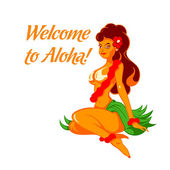 Cheerful Aloha girl — Stok Vektör