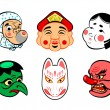 Stock Vector: Japanese comical masks