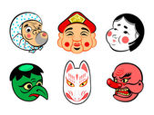 Japanese comical masks — Stock Vector