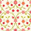 Seamless retro floral pattern — Stock Vector