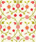 Sömlös retro blommigt mönster — Stockvektor