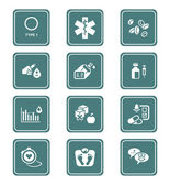Diabetes icons - TEAL series — Stockvector