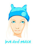 Peace girl — Stock Vector