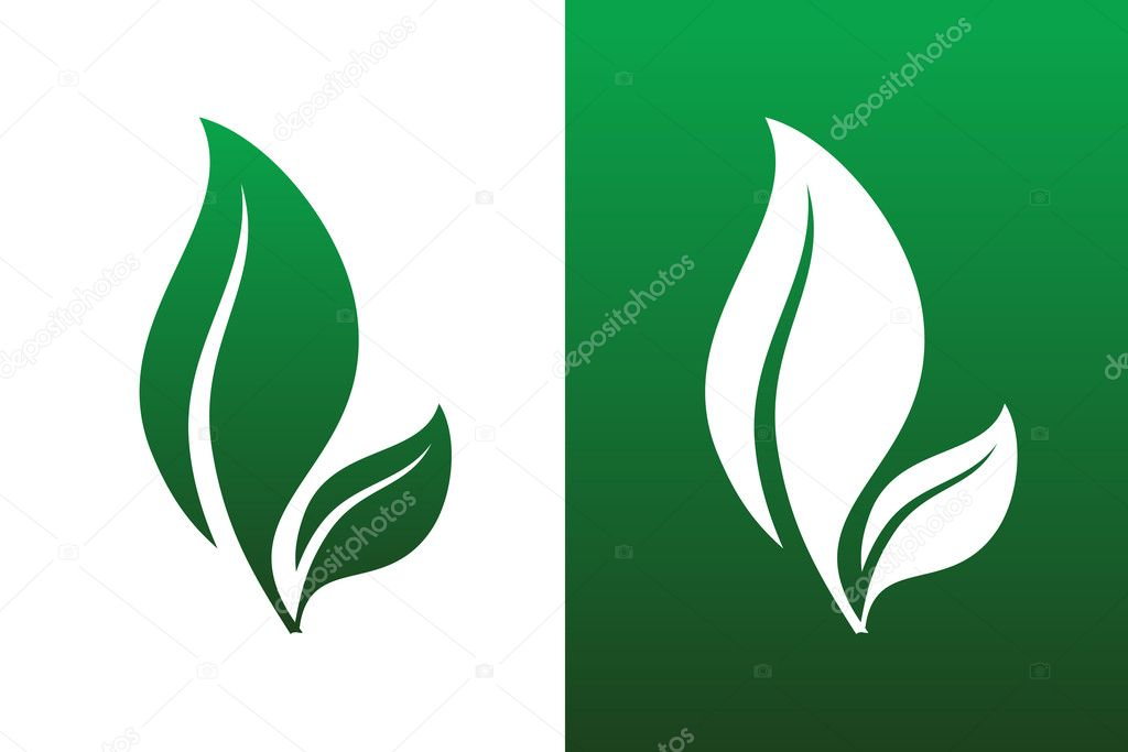 Leaf Pair Icon Vector Illustrations on Both Solid and Reversed Background. — Stock Vector #12553293