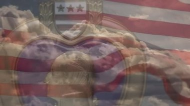 Purple Heart Medal with Time-laps Clouds and Slow-motion Waving American Flag — Stock Video