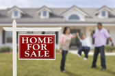 Real Estate Sign and Hispanic Family in Front of House — Stock Photo