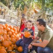 Happy Mixed Race Family at the Pumpkin Patch — Stock Photo #13641285