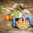 Stock Photo: Brother and Sister Children on Wood Steps with Pumpkins Playing