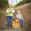 Brother and Sister Children on Wood Steps with Pumpkins Singing — Stock Photo #13704052