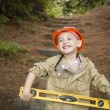 Adorable Child Boy with Level Playing Handyman Outside — Stock Photo