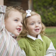 Adorable Brother and Sister Children Playing Outside — Stock Photo