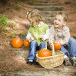Brother and Sister Children Sitting on Wood Steps with Pumpkins — Stock Photo #13704231