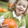 Cute Young Child Girl Enjoying the Pumpkin Patch. — Stock Photo