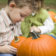 Cute Young Brother and Sister At the Pumpkin Patch — Stock Photo #13704302
