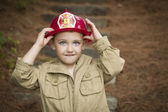 Adorable Child Boy with Fireman Hat Playing Outside — Stock Photo