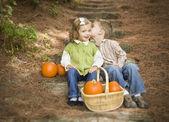 Fratello e sorella figli sui gradini di legno con zucche whisperi — Foto Stock