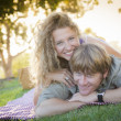 Stock Photo: Attractive Loving Couple Portrait in the Park
