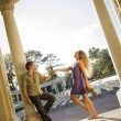 Attractive Loving Couple Portrait in the Outdoor Amphitheater — Stock Photo