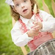 Adorable Little Girl Playing Chef Cooking — Stock Photo #14272717