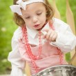 Adorable Little Girl Playing Chef Cooking - Stock Photo
