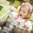 Adorable Little Girl Playing Chef Cooking — Stock Photo #14272759