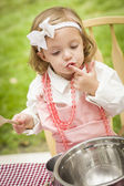 Adorable Little Girl Playing Chef Cooking — Stock Photo