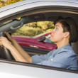 Stressed Mixed Race WomDriving in Car and Traffic — Stock Photo #14496941