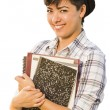 Portrait of Mixed Race Female Student Holding Books Isolated — Stock Photo