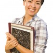 Portrait of Mixed Race Female Student Holding Books Isolated — Stock Photo #14557795