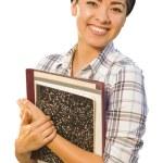 Portrait of Mixed Race Female Student Holding Books Isolated — Stock Photo #14557795