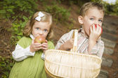 Bedårande barn äta röda äpplen utanför — Stockfoto