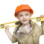 Child Boy with Level Playing Handyman Outside Isolated — Stock Photo