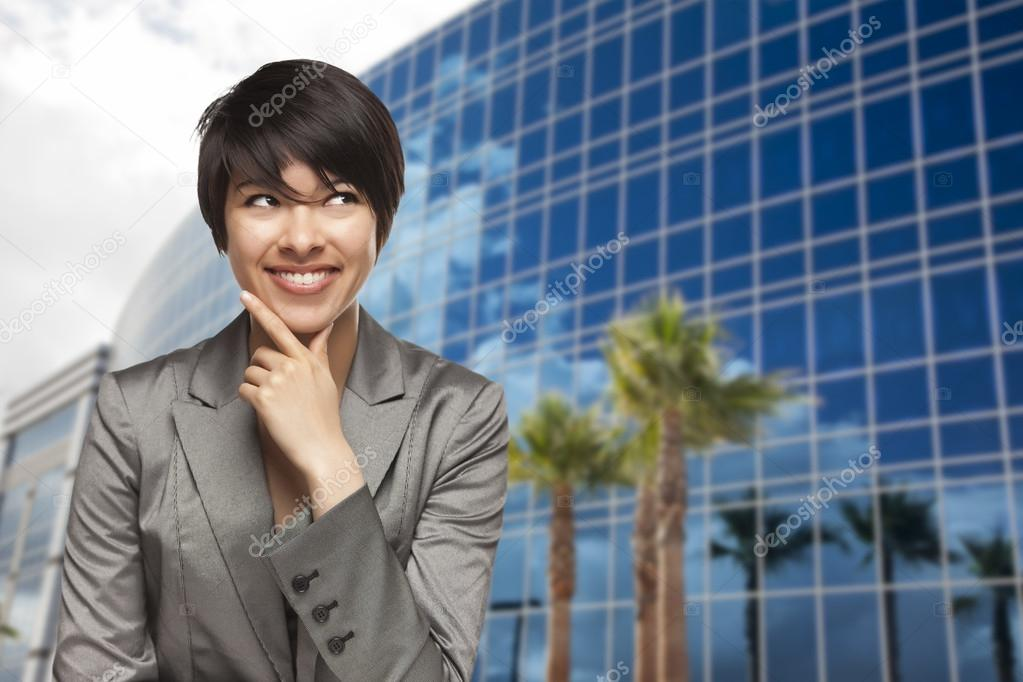 Attractive Mixed Race Young Adult in Front of Corporate Building. — Stock Photo #15099873