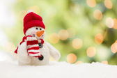 Cute Snowman Over Abstract Background — Stock Photo