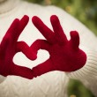 Woman Wearing Red Mittens Holding Out a Heart Hand Sign - Stockfoto