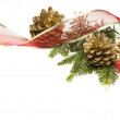 Pine Cones, Red Ribbon and Pine Branches Isolated on White - Stock Photo