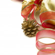 Christmas Present with Red Ribbon and Pine Cones on White — Stock Photo