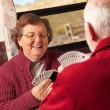 Happy Senior Adult Couple Playing Cards in Their Trailer RV — Stock Photo