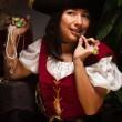 Dramatic Female Pirate Scene — Stock Photo